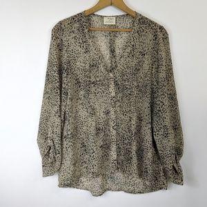 Pins and Needles semi sheer animal print blouse